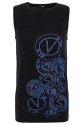 Versus By Versace Woman Intarsia Knit Cotton Blend Top Black