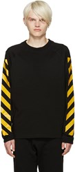 Moncler X Off White Black Striped Sleeves T Shirt