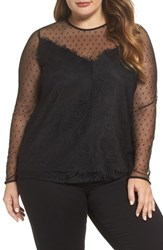 Lost Ink Plus Size Women's Mesh And Lace Swing Top Black