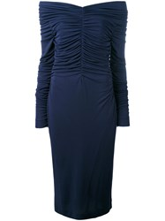Salvatore Ferragamo Ruched Midi Dress Women Polyamide Viscose 46 Blue