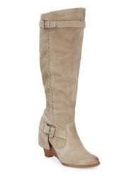 Naughty Monkey Braid Suede Mid Calf Boots Taupe