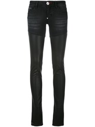 Philipp Plein Panel Skinny Trousers Women Cotton Polyester Polyurethane Viscose 27 Black