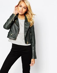 Barney's Originals Bruto Cropped Leather Jacket Darkgreen