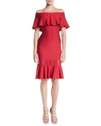 Herve Leger Off The Shoulder Bandage Flutter Hem Cocktail Dress Red