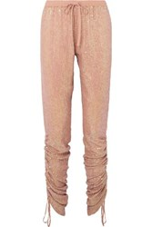 Ashish Ruched Sequined Georgette Tapered Pants Beige