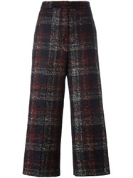 Rochas Checked Cropped Trousers Black