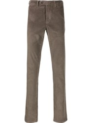 Canali Corduroy Straight Leg Trousers Brown