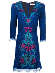 Matthew Williamson Floral Lace Overlay Dress Blue