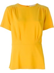 Michael Michael Kors Peplum Relaxed Fit T Shirt Yellow And Orange