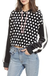 Juicy Couture Polka Dot Velour Crop Hoodie Sorbet Pink And Tiger Lily
