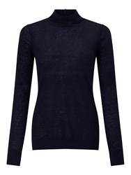 Jigsaw Wafer Cashmere Polo Neck Navy