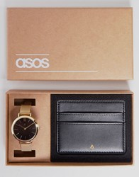 Asos Premium Leather Card Holder And Mesh Watch Gift Set Gold