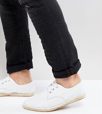 Asos Wide Fit Lace Up Espadrilles In White Textured Canvas