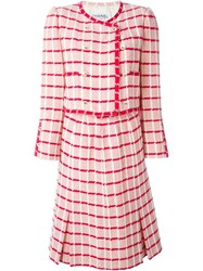 Chanel Vintage Checked Skirt Suit Pink And Purple