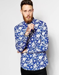 Vito Shirt With All Over Flower Print In Slim Fit Royalblue