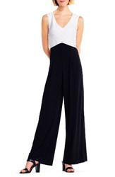 Adrianna Papell Women's Jersey Jumpsuit Ivory Black