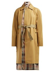Balenciaga Check Lined Cotton Twill Trench Coat Beige Multi