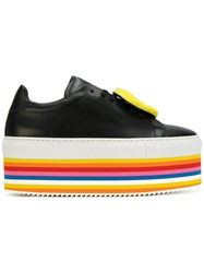 Joshua Sanders Rainbow Platform Sneakers Women Leather Rubber 38 Black