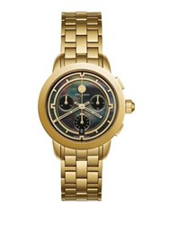 Tory Burch Chronograph Goldtone Stainless Steel And Black Mother Of Pearl Bracelet Watch
