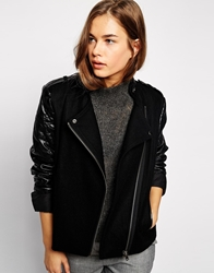 Mbym Jacket With Pu Sleeves And Asymmetric Zip 880Black