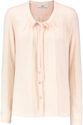 7 For All Mankind Bow Embellished Crepe Blouse Pastel Pink