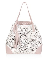 Buco Grand Crochet Tote White Blush Gold