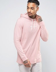 Asos Longline Long Sleeve T Shirt With Japanese Print And Hood Pink