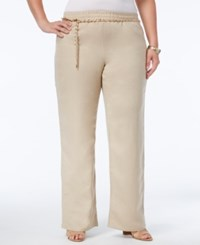 Jm Collection Plus Size Linen Belted Pants Only At Macy's Sandscape