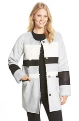 Women's Sam Edelman 'Aiden' Colorblock Faux Shearling Coat