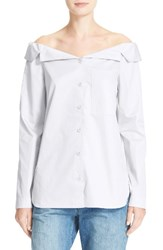 Tibi Women's Notch Collar Off The Shoulder Poplin Shirt White