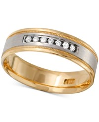 Macy's Men's Diamond Two Tone Band 1 4 Ct. T.W. In 10K Gold And White Gold Or Rose Gold And White Gold Yellow Two Tone