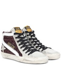 Golden Goose Slide Glitter And Leather Trimmed Sneakers Purple