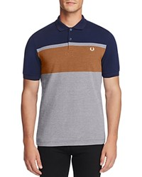Fred Perry Color Block Stripe Slim Fit Polo Shirt French Navy