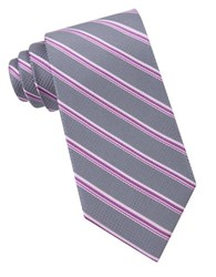 Michael Michael Kors Houndstooth Striped Silk Tie Pink