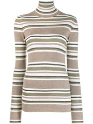 Brunello Cucinelli Horizontal Stripes Sweater Brown