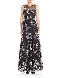 Teri Jon Floral Lace Sleeveless Gown Black