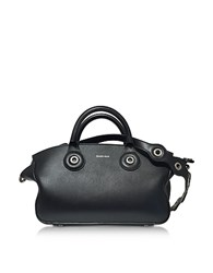 Carven Black Leather Eyelet Tote