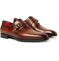 Berluti Polished Leather Monk Strap Shoes Brown