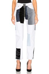 Off White Velvet Patch Pocket Jeans In Blue White Blue