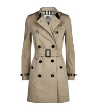 Burberry Kensington Leather Trim Mid Length Trench Coat Female Beige
