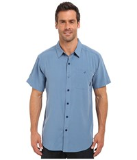 Columbia Mossy Trail S S Shirt Steel Slub Men's Short Sleeve Button Up Blue