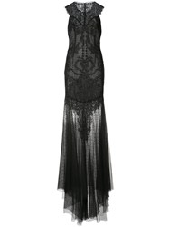 Monique Lhuillier Sheer Embellished Gown Women Silk Cotton Nylon Polyamide 8 Black