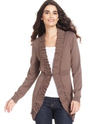 Style And Co. Long Sleeve Ruffle Trim Cardigan Warm Taupe