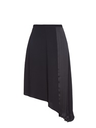 Carven Pleated Satin Midi Skirt