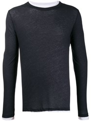 Majestic Filatures Long Sleeve Fitted Top Blue