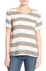 Women's Caslon Linen And Cotton Woven Relaxed Tee Ivory Olive Stripe