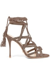 Schutz Lydia Leather Trimmed Suede Sandals Beige