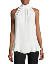 Max Studio Tie Neck Sleeveless Blouse Ivory