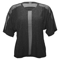 337 Brand Center Front Mesh Panel Tee Charcoal Heather Grey Black