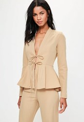Missguided Tall Exclusive Nude Peplum Tailored Blazer Blush